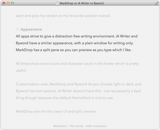 Byword's focus and typewriter mode